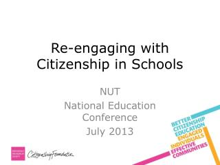 Re-engaging with Citizenship in Schools