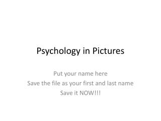 Psychology in Pictures