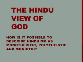 The Hindu View of God