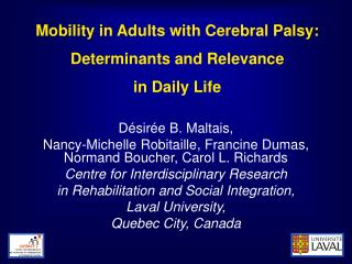 Mobility in Adults with Cerebral Palsy: Determinants and Relevance in Daily Life