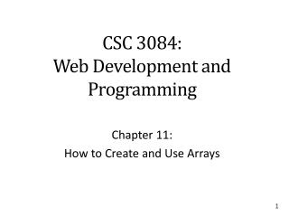 CSC 3084: Web Development and Programming