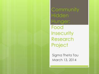 Community Hidden Hunger:   Food Insecurity  Research Project