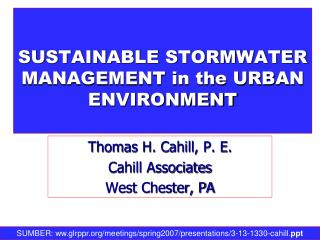SUSTAINABLE STORMWATER MANAGEMENT in the URBAN  ENVIRONMENT
