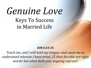 Genuine Love Keys  To Success  in Married Life