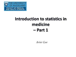 Introduction to statistics in medicine  – Part 1