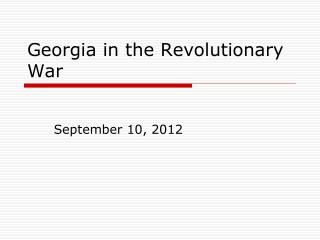 Georgia in the Revolutionary War
