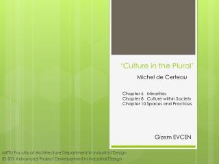 'Culture in the Plural'