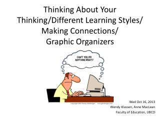 Thinking About Your Thinking/Different Learning Styles/ Making Connections/ Graphic Organizers