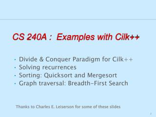 CS 240A :  Examples with Cilk++