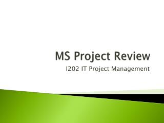 MS Project  Review