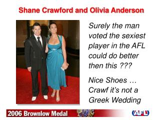 Shane Crawford and Olivia Anderson