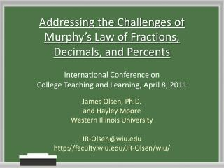 Addressing the Challenges of Murphy's Law of Fractions, Decimals, and Percents