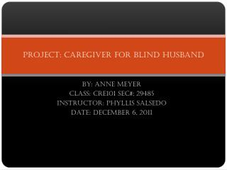Project: Caregiver for blind husband