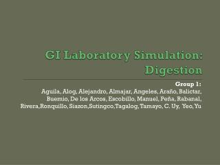 GI Laboratory Simulation: Digestion