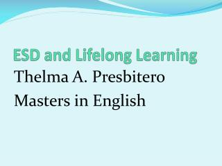 ESD and Lifelong Learning