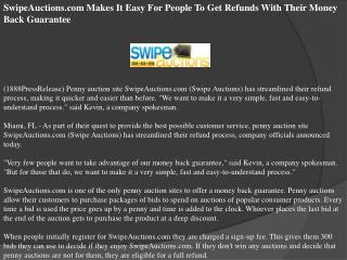 SwipeAuctions.com Makes It Easy For People To Get Refunds Wi