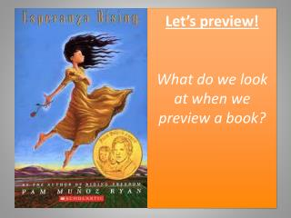 Let's preview! What do we look at when we preview a book?