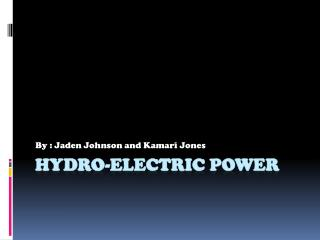 Hydro-electric power