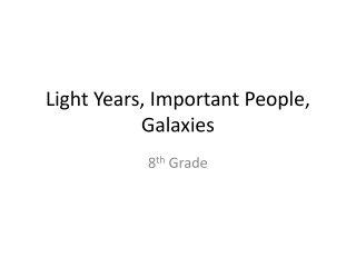 Light Years, Important People, Galaxies