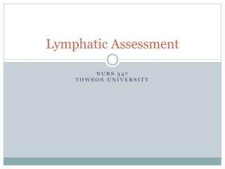 Lymphatic Assessment