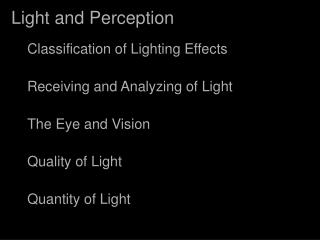 Light and Perception