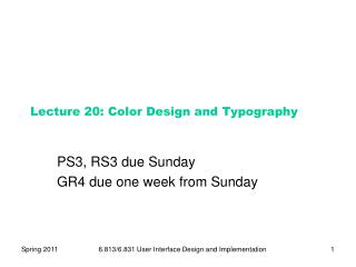 Lecture  20:  Color Design and Typography