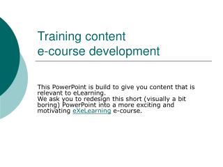 Training content  e-course development