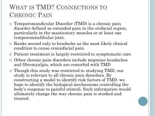 What is TMD? Connections to Chronic Pain