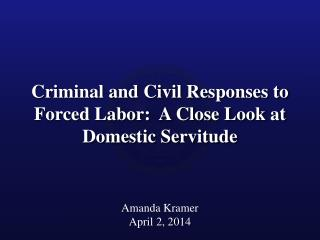 Criminal and Civil Responses to Forced Labor:  A Close Look at Domestic Servitude