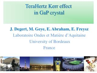 TeraHertz  Kerr  effect  in  GaP crystal