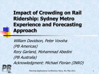 Impact of Crowding on Rail  Ridership : Sydney Metro Experience and Forecasting Approach
