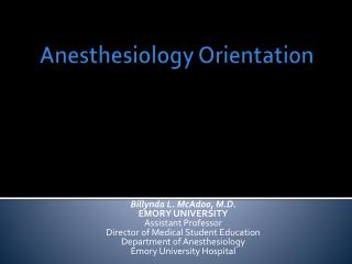 Anesthesiology Orientation
