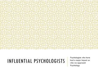 Influential Psychologists