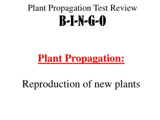 Plant  Propagation  Test Review B-I-N-G-O