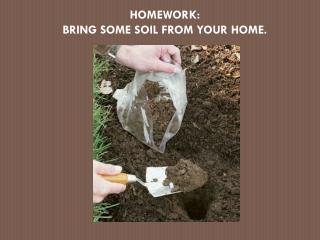 HOMEWORK: BRING SOME SOIL FROM YOUR HOME.