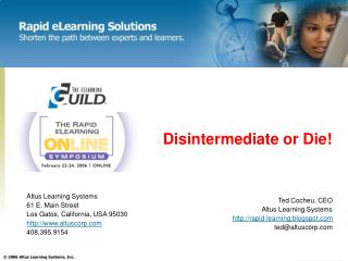 Disintermediate or Die Altus Learning Systems