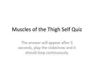 Muscles of the Thigh Self Quiz