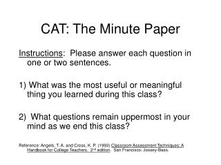 CAT: The Minute Paper