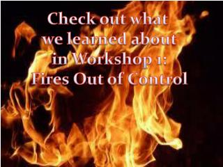 Check out what  we learned about in Workshop 1: Fires Out of Control