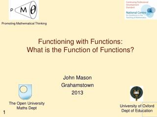 Functioning with Functions: What is the Function of Functions?