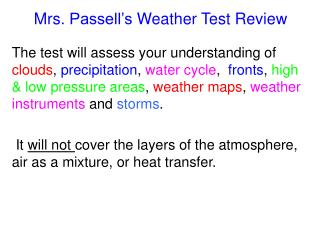 Mrs.  Passell's  Weather Test Review
