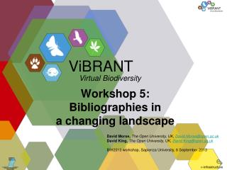 Workshop 5: Bibliographies in a changing landscape