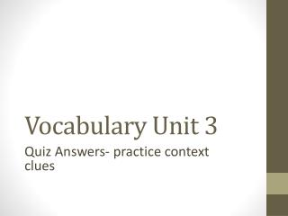 Vocabulary Unit 3
