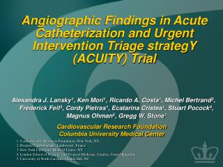 Angiographic Findings in Acute Catheterization and Urgent Intervention Triage strategY (ACUITY) Trial