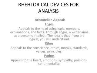 RHEHTORICAL DEVICES FOR ANALYSIS