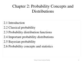 Chapter 2: Probability Concepts and Distributions
