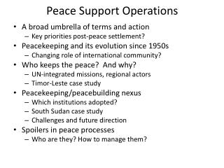 Peace Support Operations