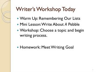 Writer's Workshop Today