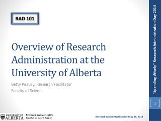 Overview of Research Administration at the University of Alberta