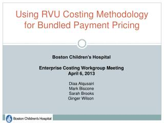 Using RVU Costing Methodology for Bundled Payment Pricing